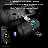 Bluetooth Receiver, Mini Wireless Audio Adapter Hands-Free Car Kit Music Streaming 3.5mm Stereo Output (Bluetooth 4.1, A2DP, 8H Play,TF/SD Card) Bluetooth Aux Adapter for Home Car Sound System