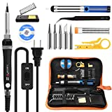 Tools & Hardware : Tabiger Soldering Iron kit with Adjustable Temp 200-450°C and ON/OFF Switch, 60W Welding tool with 5 Soldering tips, Desoldering Pump, Solder Wick, Solder wire, Wire Stripper Cutter, Stand, Tool Case