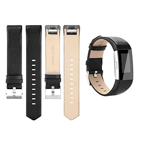 for Fitbit Charge 2 Bands, Genuine Leather Replacement Bands for Fitbit Charge 2 Black