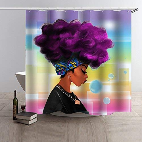 UniTendo 3D Character Style Waterproof Polyester Shower Curtain with Hooks for Bathroom Decor,Mildew Free,72 x 72 inches,Beautiful Afro Shower Curtains.