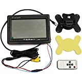 LotFancy 7 Inch TFT LCD Color 2 Video Input Car RearView Headrest Monitor DVD VCR Monitor With Remote and Stand,Support Rotating The Screen