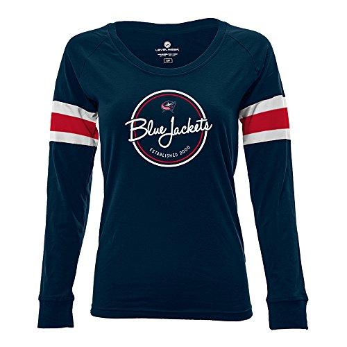 Columbus Blue Jackets Shirt (NHL Columbus Blue Jackets Adult Women Finish Line Tailgate Long sleeve V-Neck Tee, Large, Solid Navy/White)