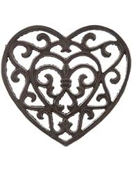 Rust Cast Iron Metal Kitchen Trivet or Home Wall Decor (Heart)