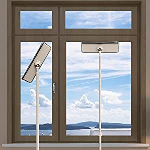 Elvoes Window Squeegee, Extendable Microfiber Sponge Window Squeegee Cleaner, Telescopic Window Wiper with Pole, Window Cleaning Tools for House/Car/Glass