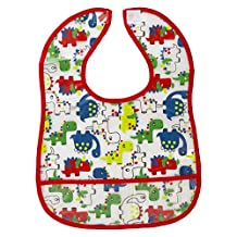 Children's Plastic Apron 100% Peva Velcro Bib, Multiple Wipe CLean D - Dino Dude