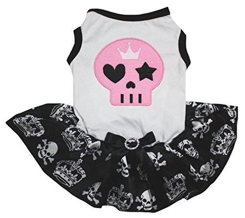 Petitebella Puppy Clothes Dog Dress Pink Skull White Top Skull Crown Tutu (Medium)