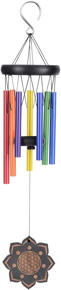Best Large Metal Musical Windchime For Home Decoration Tuned 22 Garden Wood Windchimes for Patio Agirlgle Wooden Colorful Wind Chimes(7 Different Color Tubes ) Terrace and Outdoor