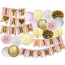 Baby Shower Decoraciones Baby Shower & it 's a Girl guirnalda Bunting Banner tela flores de papel Pompones Paper Lanterns Paper Honeycomb bolas rosa/blanco/oro/crema decoración de fiesta Nursery Room Decor
