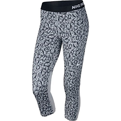 Nike Women's Pro Cool Facet Capri Pant (Medium, Wolf Grey/Black/White)