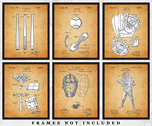 - Vintage Baseball Patent Wall Art Prints: Set of 6 Unframed 8x10 Posters Unique Room Decor Photos for Home, Office, Gym, College Dorm & Man Cave - Great Gift Under $20 for Boys, Men, Coach & Sport Fans