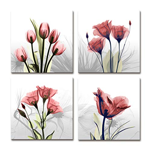 - Moyedecor Art - 4 Panel Elegant Tulip Flower Canvas Print Wall Art Painting For Living Room Decor And Modern Home Decorations (Four 12X12in, Red flower prints framed)