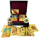 Big Texas Mall 24k Gold Dubai Leopards & Ben Franklin $100 Bill Poker Playing Cards w/2 Gold Plated Collectible Bitcoin Coins Real Gold Standard Professional Quality Gold Foil Plated Prestige Set