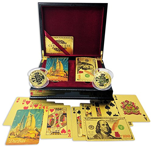 Big Texas Mall 24k Gold Dubai Leopards & Ben Franklin $100 Bill Poker Playing Cards w/2 Gold Plated Collectible Bitcoin Coins Real Gold Standard Professional Quality Gold Foil Plated Prestige Set by Big Texas Mall