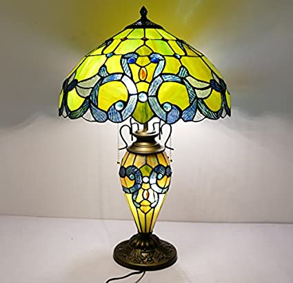 Genial LDGJ Tiffanyu0027s Tiffany Style 16 X 16 X 24Inch Table Lamp With Lighted Base