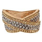 Gypsy Jewels Large Rhinestone Prom Pageant Big Statement Hinged Bangle Bracelet (Topaz Brown & Hematite Grey Gold Tone)