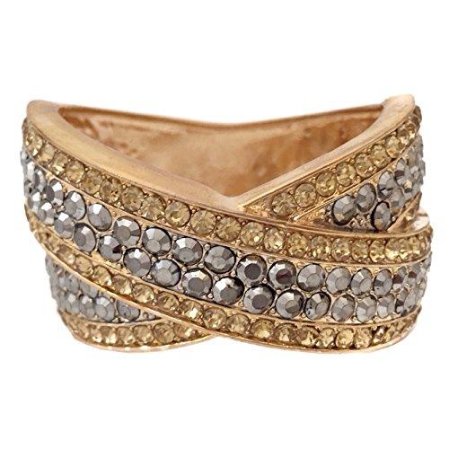 Gypsy Jewels Large Rhinestone Prom Pageant Big Statement Hinged Bangle Bracelet (Topaz Brown & Hematite Grey Gold Tone) by Gypsy Jewels