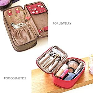 "JAVOedge Women's Double Sided Cosmetic Bag, Dark Blue, 8"" x 3.5"" x 4.5"""