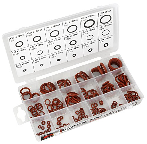 Performance Tool W5239 180pc Polymer Viton Brown O-Ring Assortment, 18 Sizes 180 Pieces