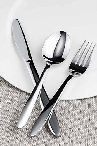 Winco Flute 3 Dozen Flatware Set, Extra Heavy 18-0 Stainless Steel Classic (Silverplate Dinner Knife)