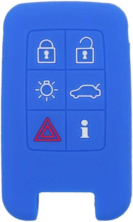 SEGADEN Silicone Cover Protector Case Holder Skin Jacket Compatible with VOLVO 6 Button Smart Remote Key Fob CV4782 Deep Blue