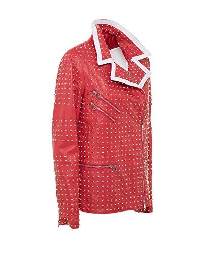 Con Rosso Bianche Borchie Agb Donna Colore Pelle In Confezionata Rifiniture Da Giacca 1nFwqT6p