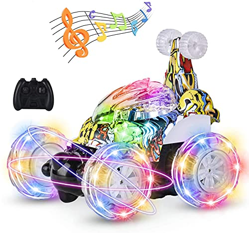Kizeefun Remote Control Car Remote Control Stunt Car for Kids,RC Stunt Car with 360°Flips Rotation,Remote Control Cars for Girls Boys with Light Stunt Vehicle Truck Car Boy Toy Gifts for 3 to 12 Year