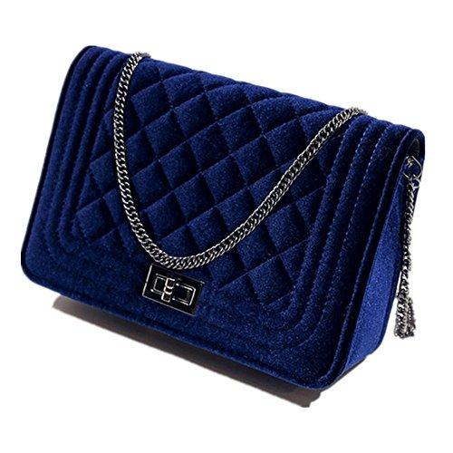 New Bag Messenger shoulder Womens bag Cross bag Body velvet Handbag Blue Wine red rqOznr
