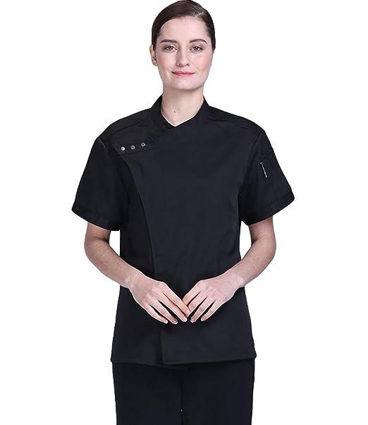 ... Corta Camisa de Cocinero Transpirable Pastel para Hornear Chaquetas de  Chef Uniforme Cocina Restaurante Occidental Negro M  Amazon.es  Ropa y  accesorios b62b0a74f67