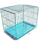 Pet Club51 Stainless Steel Dog Cages Sky Blue -Large 30 Inches