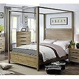 Furniture of America Mark Queen Canopy Bed in Light Oak