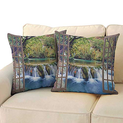 RenteriaDecor Waterfall,Square Pillowcase Wide Waterfall Deep Down in The Forest Seen from A City Window Epic Surreal Print 20