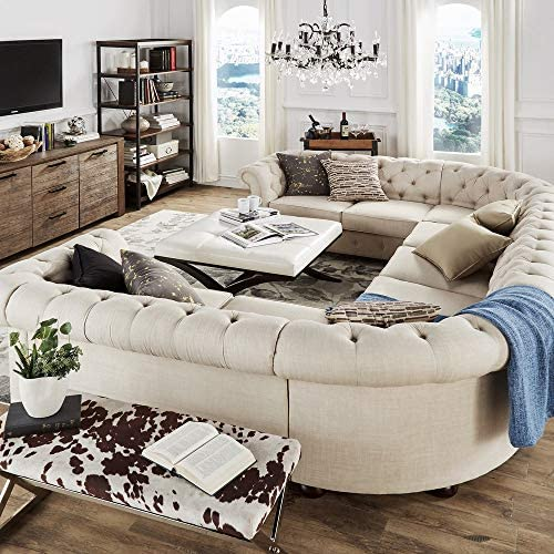 Inspire Q Knightsbridge Csterfield U-Shaped Sectional