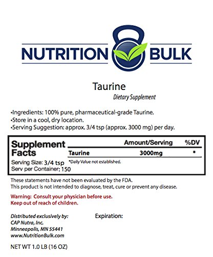 Taurine - Nutrition Bulk, Powder, Energy, Focus, Non GMO, Vegan, Taurine for Cats (1 lb)