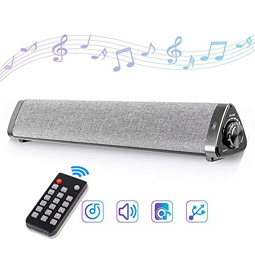 CONBOLA Wireless Bluetooth Soundbar Speaker Surround Subwoofer Smart TV Sound Wall Mount Remote Control, Audio Stereo for TV PC Tablets Computer Phones Home Cinema Business Office, Cable Included.