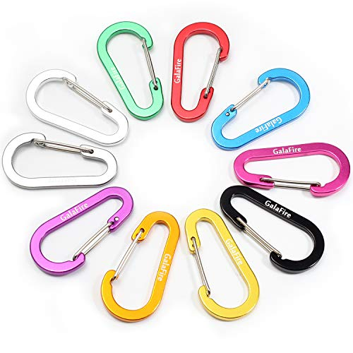 GALAFIRE 20PCS Carabiners Clip Small 2 3/8 inch 6cm Aluminum Not for Climbing Caribeaners Bulk Flat Gourd Shape Keyring Mini D Ring Keychain Carabiner for Camping Backpack Hiking Fishing (20 Pcs)