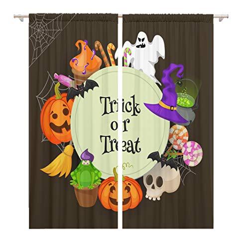 (Tinmun 104 x 84 Inch Decorative Drapes Orange Autumn Trick Treat Halloween Retro Cartoon Border Broom 2 Panels Window Curtains for Living Room Bedroom)