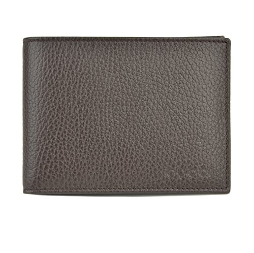 Mens Gucci Wallet 278596 Brown Leather Embossed Logo Trademark Bifold