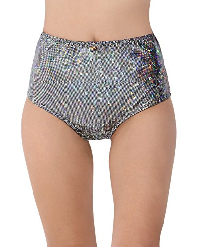 [iHeartRaves Hologram High Waisted Rave Booty Shorts (Small/Medium, Black)] (Black Sparkly Dance Costumes)