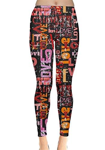 CowCow Womens Love Text 2 Leggings, Love - 5XL