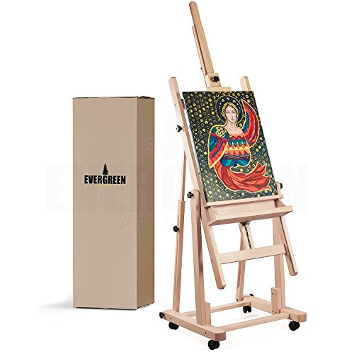 (Heavy Duty H Frame Wooden Art Easel for Adults - Oil Painting Easel Stand Wood Artist Easels for Painting - Adjustable Standing Studio Floor Easel - Professional Art Supplies, Large Canvas up to 90