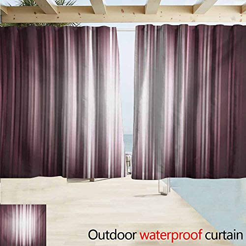 DocGike Purple Outdoor Grommet Top Curtain Panel Futuristic Digital Style Artistic Stripes and Rays in Unusual Abstraction Perfect for Your Patio, Porch, Gazebo, or Pergola W55 xL45 Plum Mauve - Plum Windsor
