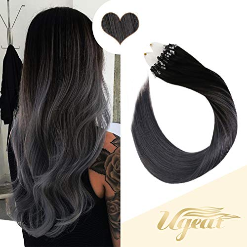 Ugeat 16inch Micro Loop Human Hair Extensions 1g/Strand Micro Ring Remy Hair Extensions 50Gram Balayage Color Off Black #1B Fading to Silver Loop Ring Real Human Hair Extensions (Human Hair Micro Extensions)