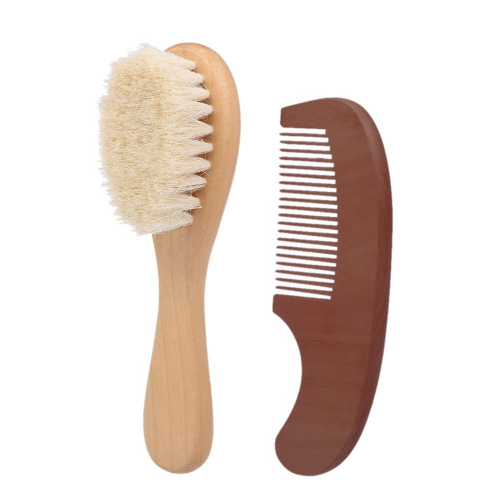 Anself 2Pcs Ensemble Brosses et peignes pour bébé Kit de brosse à cheveux nouveau-né Peigne pour bébé Cheveux en laine