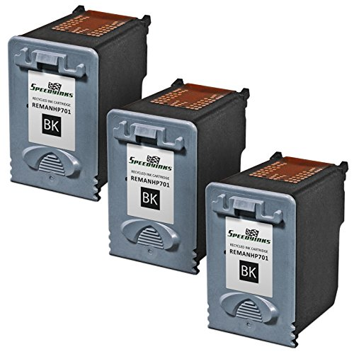 Speedy Inks - 3pk Remanufactured Replacement for HP CC635A 701 Black Ink Cartridge for use in HP FAX 640, FAX 650, FAX 2140