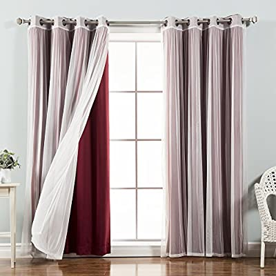 """Best Home Fashion uMIXm Tulle Sheer Lace & Blackout 4 Piece Curtain Set - Antique Bronze Grommet Top - Burgundy - 52"""" W X 96"""" L - (Set of 4 Panels) - Let in Natural light with the tulle sheer lace alone or layer it with the blackout curtain to obstruct light while adding Style and privacy Features an innovative triple weave fabric construction to block out sunlight and harmful UV rays Each panel has 8 antique bronze grommets. Grommet has 1.6-inch inner diameter, Included grommet rim is 2.7 inches - living-room-soft-furnishings, living-room, draperies-curtains-shades - 51ZS%2BdPHKYL. SS400  -"""