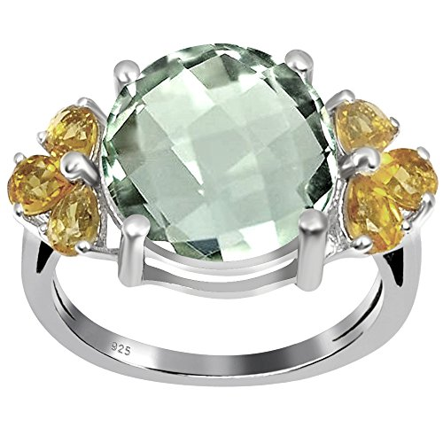 Box Amethyst Jewelry Citrine (Orchid Jewelry Round Shaped Checkerboard Green Amethyst and Citrine 925 Sterling Silver Ring for Women and Girls, Best Gift, Perfect for Engagement, Anniversary, Mother Day, Box (6.30 Cttw, 12x12 MM))
