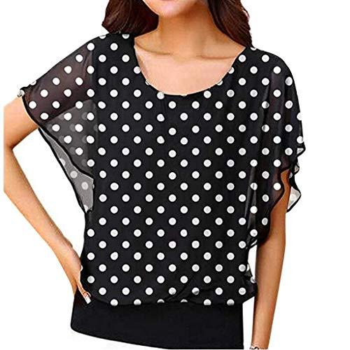 (Wobuoke Women's Fashion Loose Casual Short Sleeve Batwing Sleeve Chiffon Top T-Shirt Blouse)