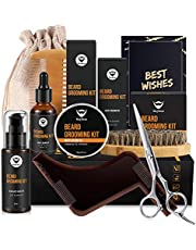 MayBeau Barbe Homme Kit 8pcs Huile Barbe 30ml,Shampooing Barbe 60ml,Baume de Barbe 60g,Ciseaux,Pochoir,Brosse,Peigne.Sac