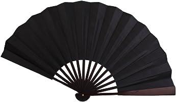 Men's Spun Silk Blank Hand Fan Calligraphy Writing Dancing Folding Fan Fancy Dress Accessory Black