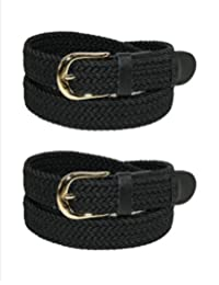 CTM® Women's Elastic Braided Stretch Belt (Pack of 2), Small, Black
